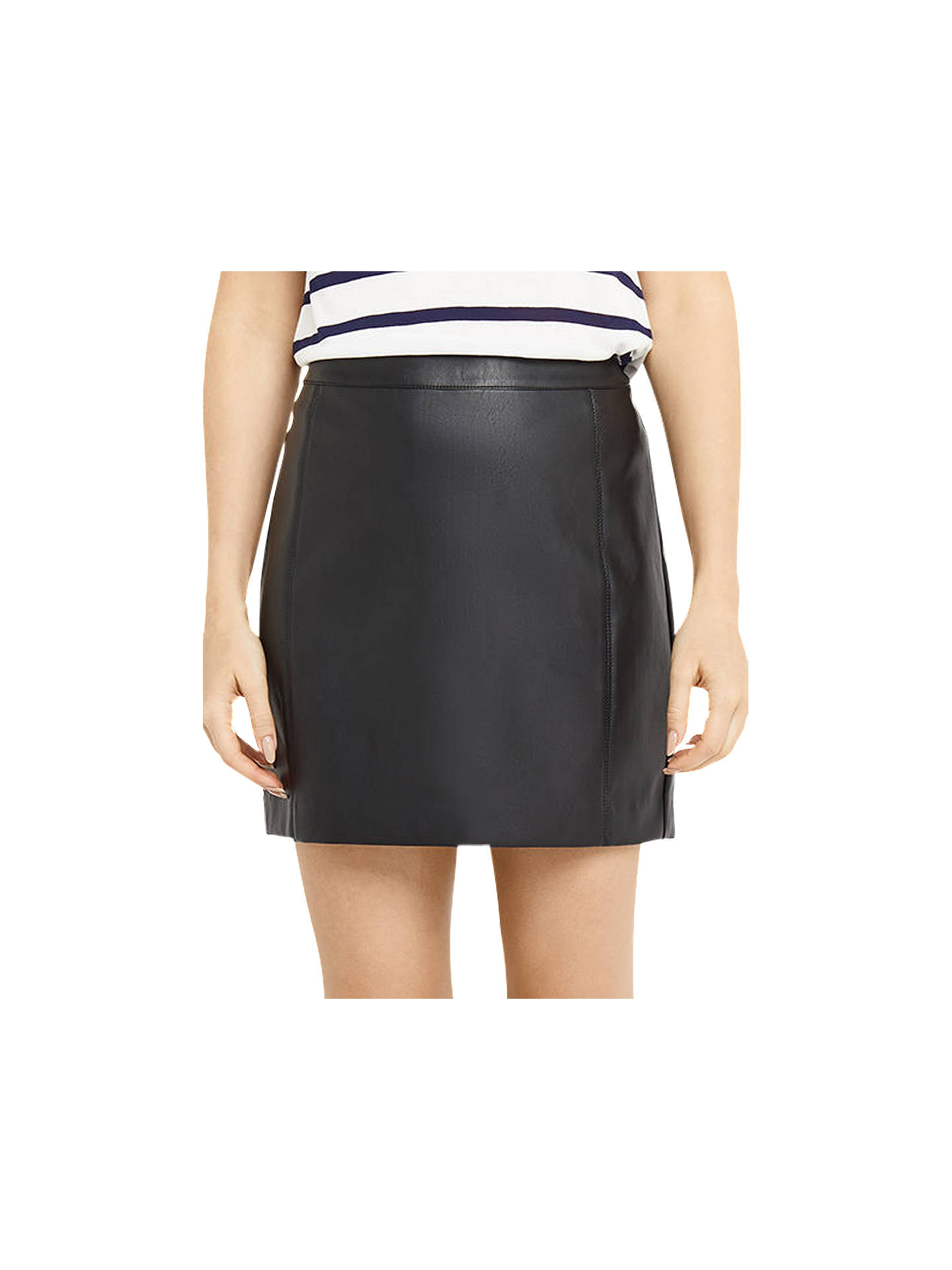 0c102b4e9 Buy Oasis Faux Leather Seamed Mini Skirt, Black, 8 Online at johnlewis.com  ...