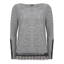 Buy Mint Velvet Camo Lace Hem Boxy Knit Jumper, Grey Online at johnlewis.com