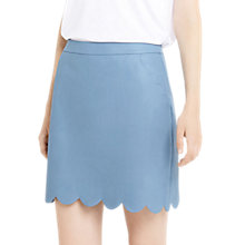 Buy Oasis Faux Leather Scallop Skirt, Light Blue Online at johnlewis.com