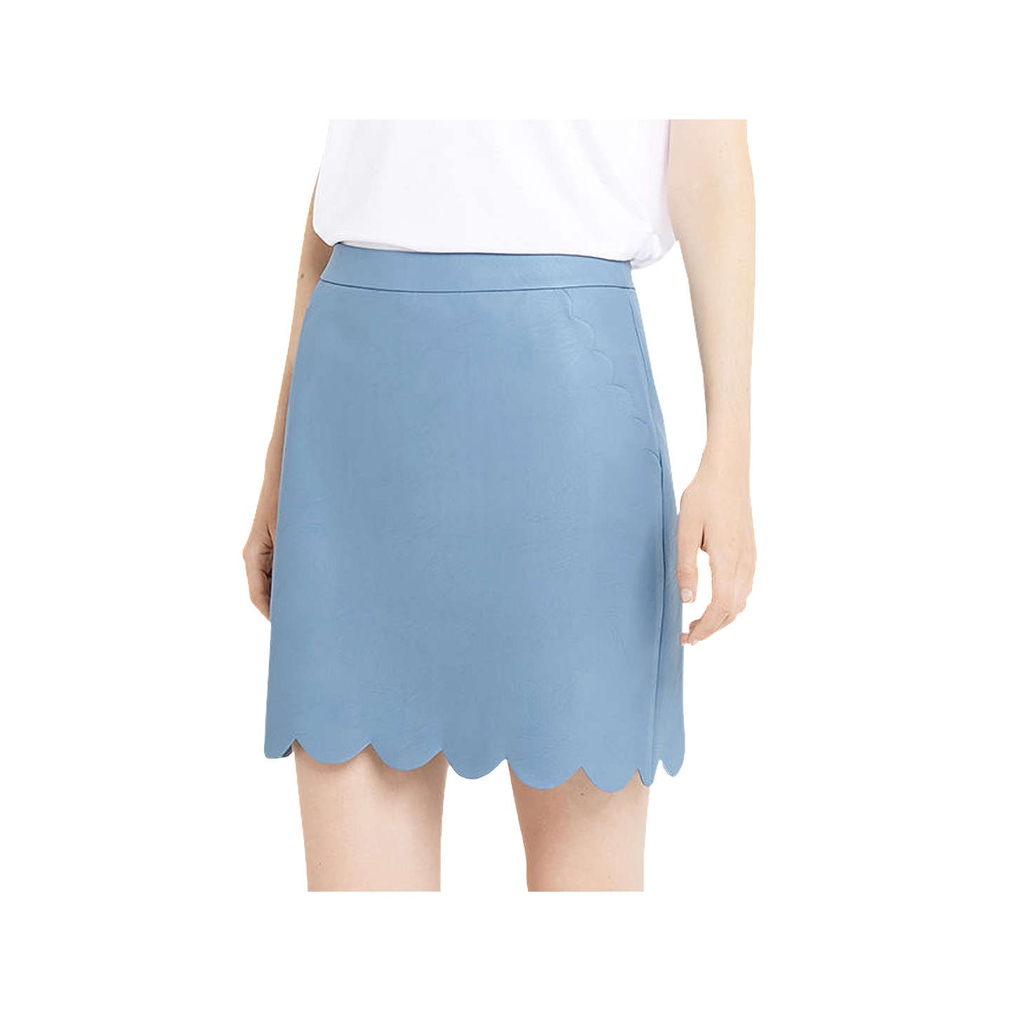 BuyOasis Faux Leather Scallop Skirt, Light Blue, 8 Online at johnlewis.com