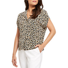 Buy Jaeger Silk Leopard Print Blouse, Ivory/Black Online at johnlewis.com