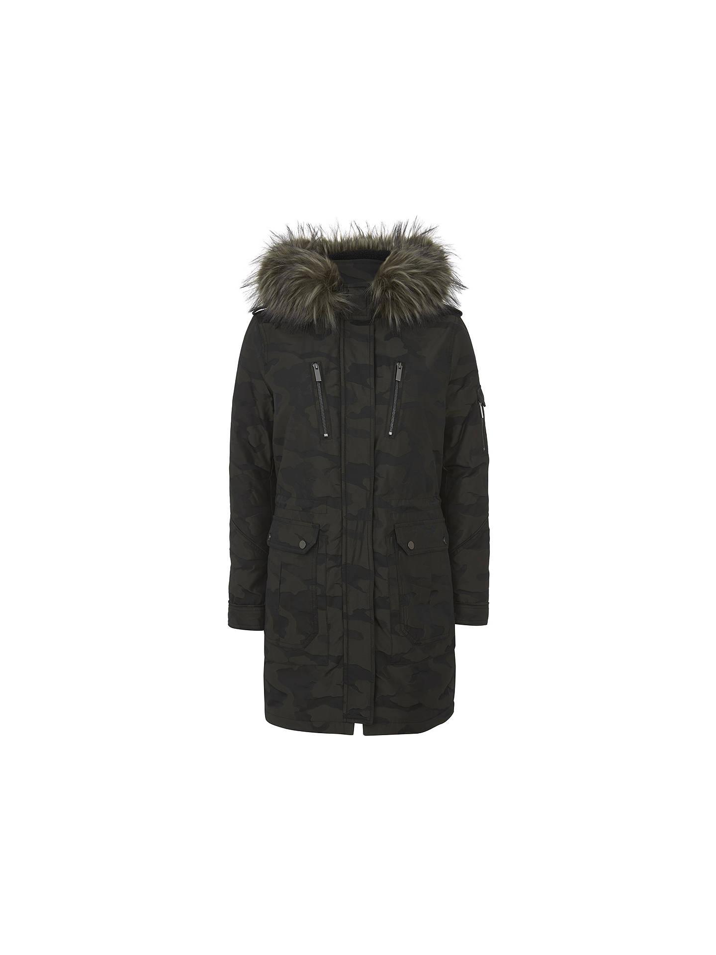 a1523676ef8c7 Buy Mint Velvet Camouflage Parka, Green, 6 Online at johnlewis.com ...