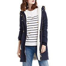 Buy Oasis Blossom Faux Fur Trim Parka, Navy Online at johnlewis.com