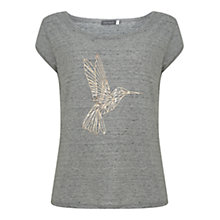 Buy Mint Velvet Hummingbird Print T-Shirt, Light Grey Online at johnlewis.com