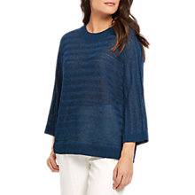 Buy Jaeger Textured Stripe Jumper, Midnight Online at johnlewis.com