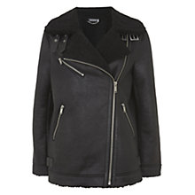 Buy Mint Velvet Faux Fur Aviator Jacket, Black Online at johnlewis.com