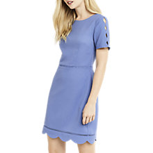 Buy Oasis Regular Length Scallop Sleeve Dress, Mid Blue Online at johnlewis.com