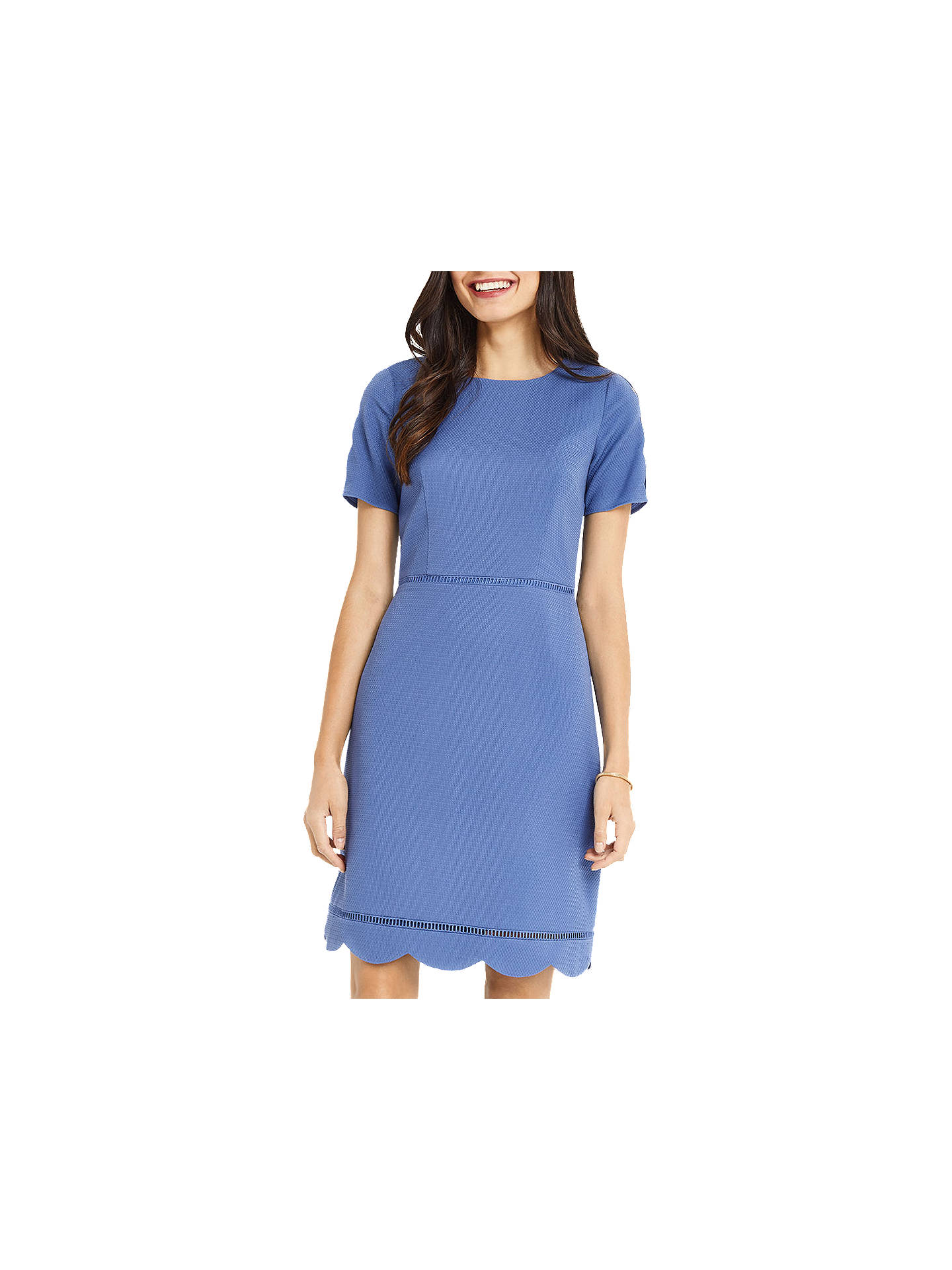 e7aab690eb59 Buy Oasis Long Length Scallop Sleeve Dress, Mid Blue, 6 Online at johnlewis.