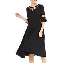 Buy Oasis Flute Sleeve Skater Dress, Black Online at johnlewis.com