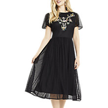 Buy Oasis Embroidered Flute Sleeve Dress, Black Online at johnlewis.com