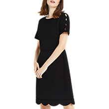 Buy Oasis Regular Length Scallop Sleeve Dress, Black Online at johnlewis.com