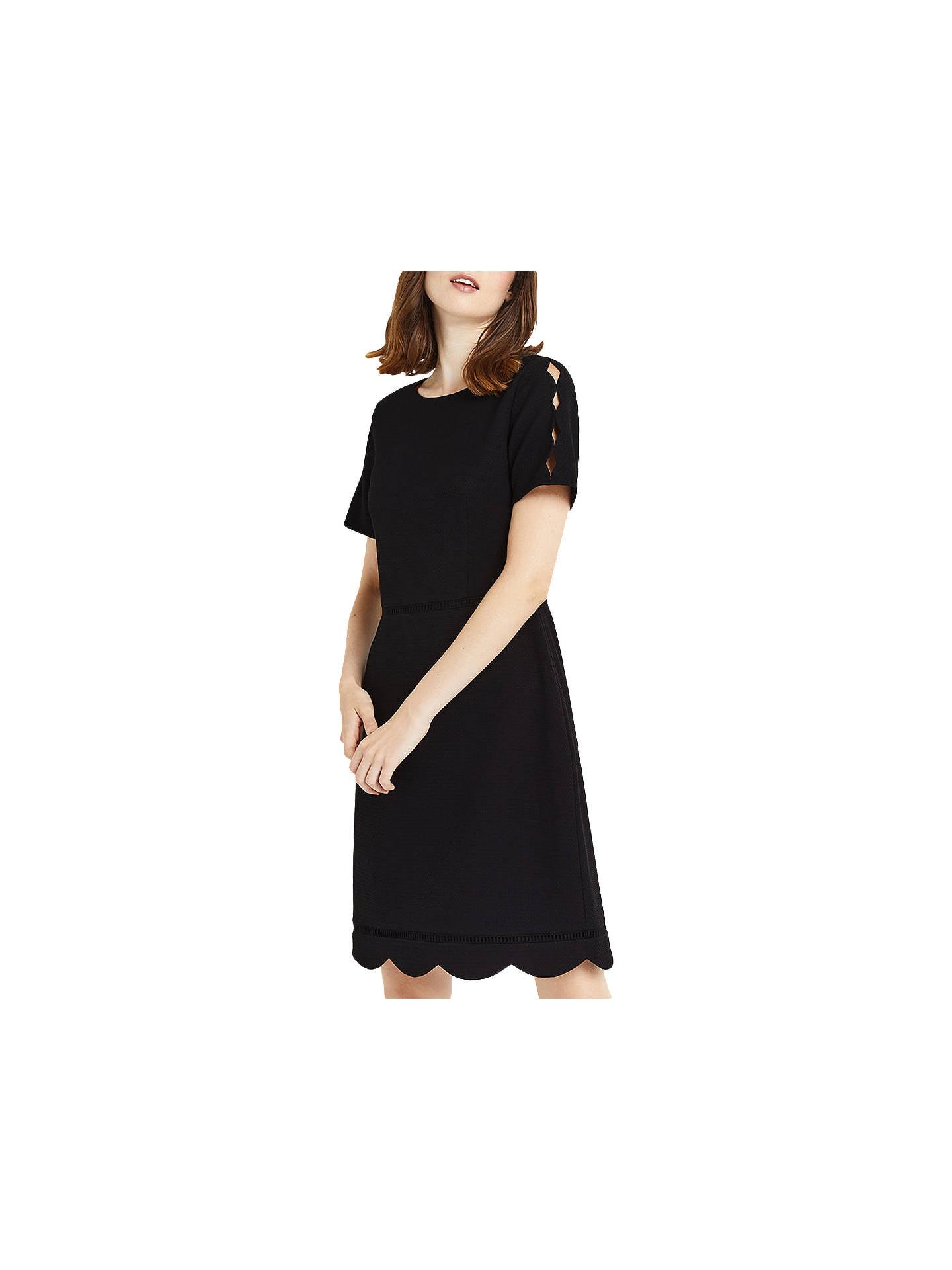 32a11e8b219d Buy Oasis Regular Length Scallop Sleeve Dress, Black, 6 Online at  johnlewis.com ...