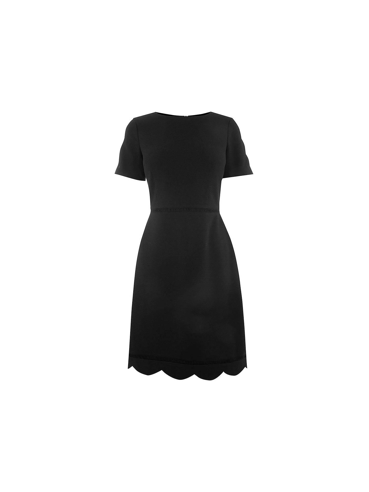 cac52d1e3c60 ... Buy Oasis Regular Length Scallop Sleeve Dress, Black, 6 Online at  johnlewis.com ...
