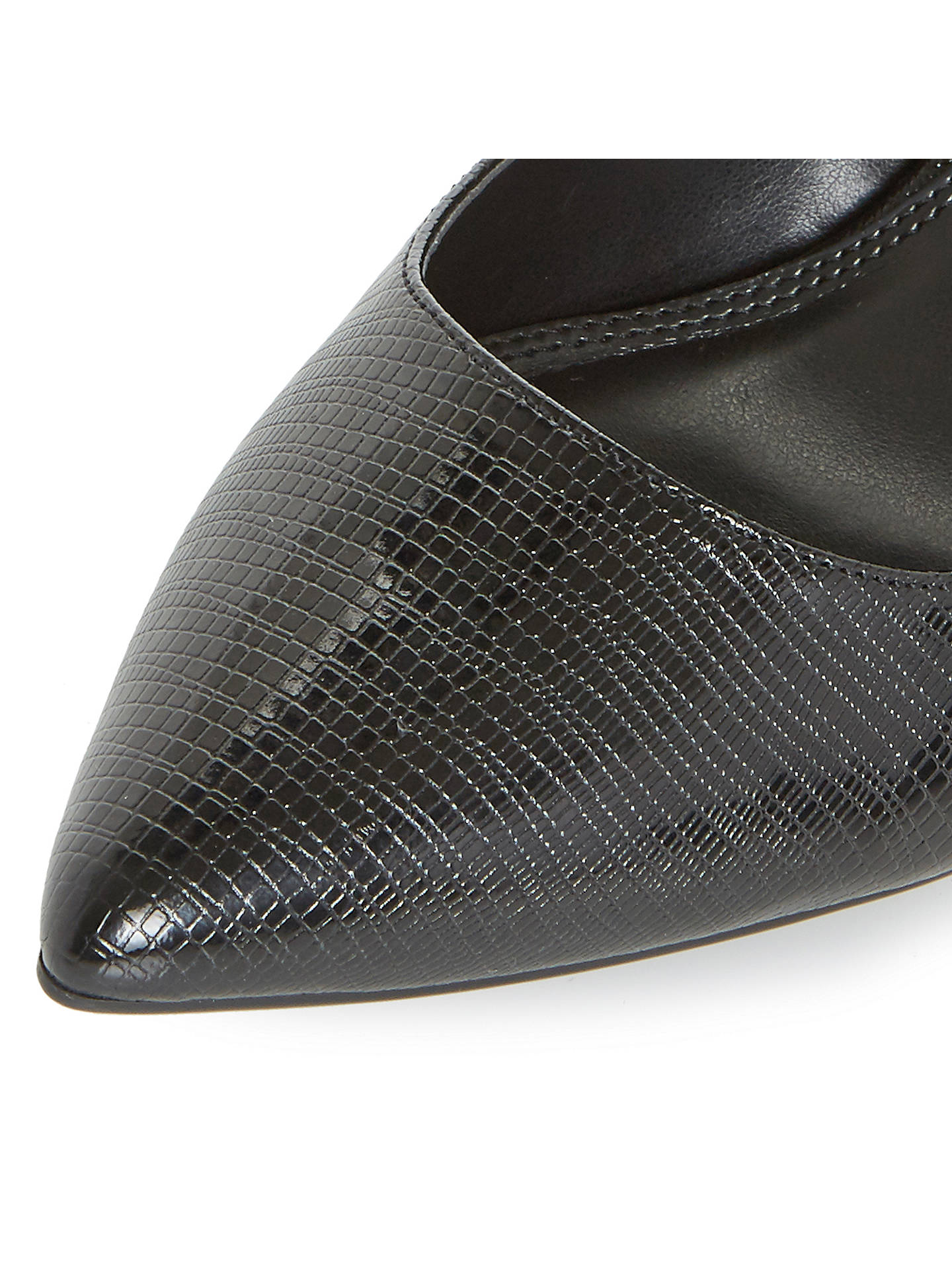 BuyDune Aeryn Stiletto Heeled Court Shoes, Black Reptile, 3 Online at johnlewis.com