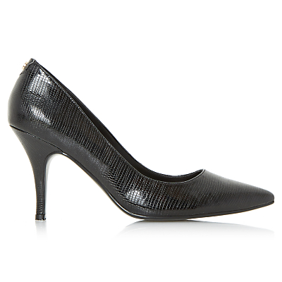 Dune Aeryn Stiletto Heeled Court Shoes, Black Reptile