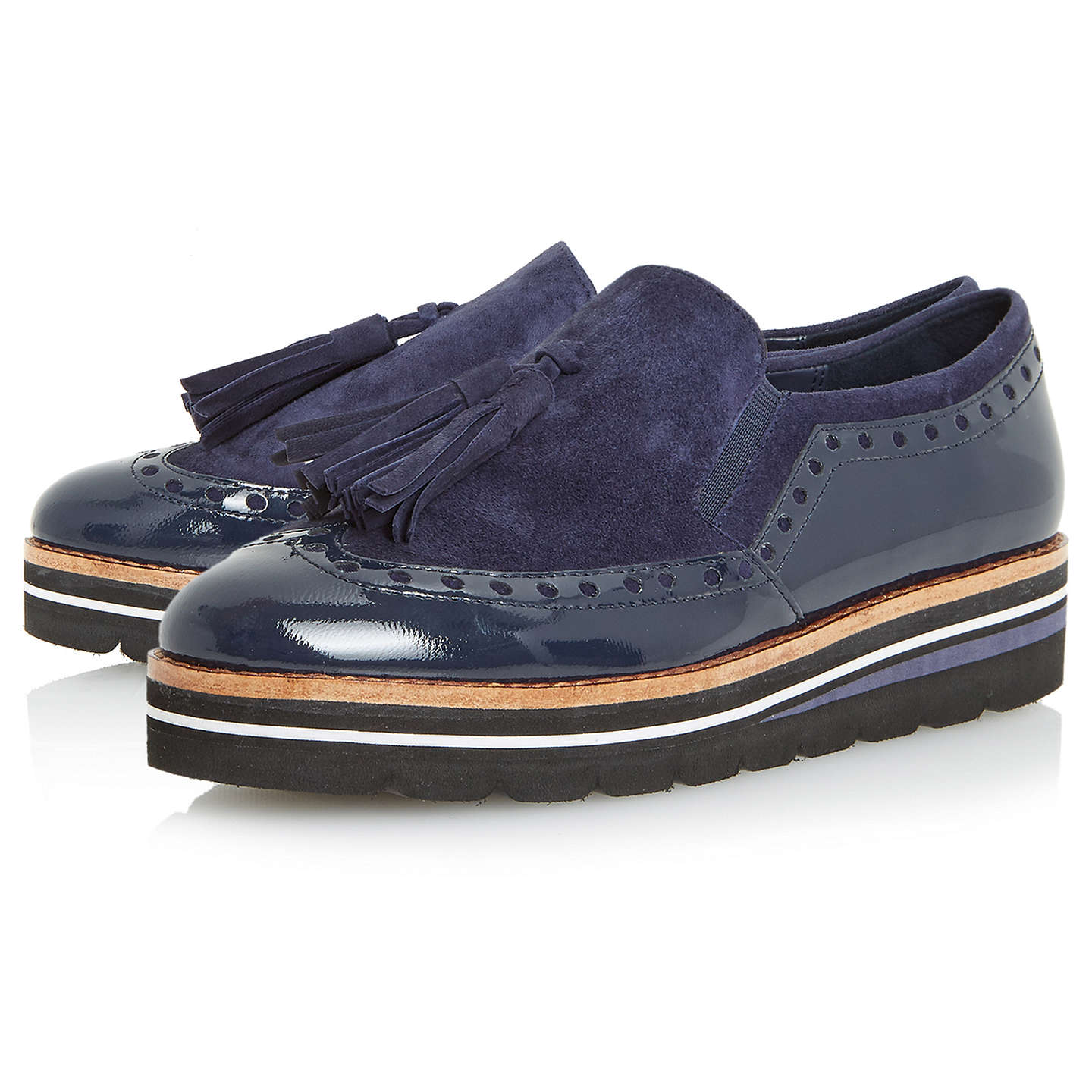 BuyDune Glorya Flatform Loafers, Navy, 3 Online at johnlewis.com
