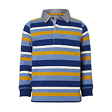 Buy John Lewis Boys' Stripe Polo Shirt, Blue/Yellow Online at johnlewis.com