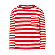 Buy John Lewis Boys' Variegated Stripe Top, Red/White Online at johnlewis.com