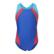 Buy John Lewis Girls' Colour Block Racer Back Swimsuit, Multi Online at johnlewis.com