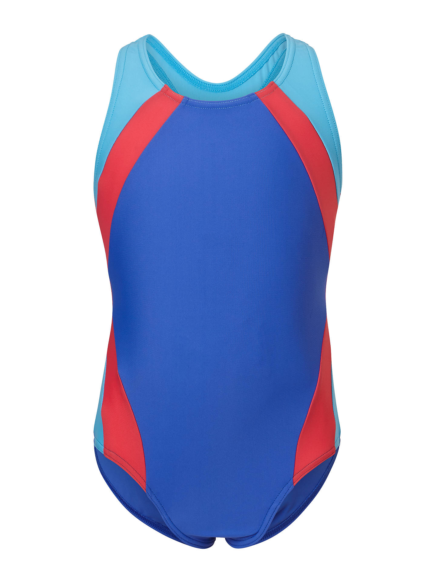 Buy John Lewis & Partners Girls' Colour Block Racer Back Swimsuit, Multi, 3 years Online at johnlewis.com