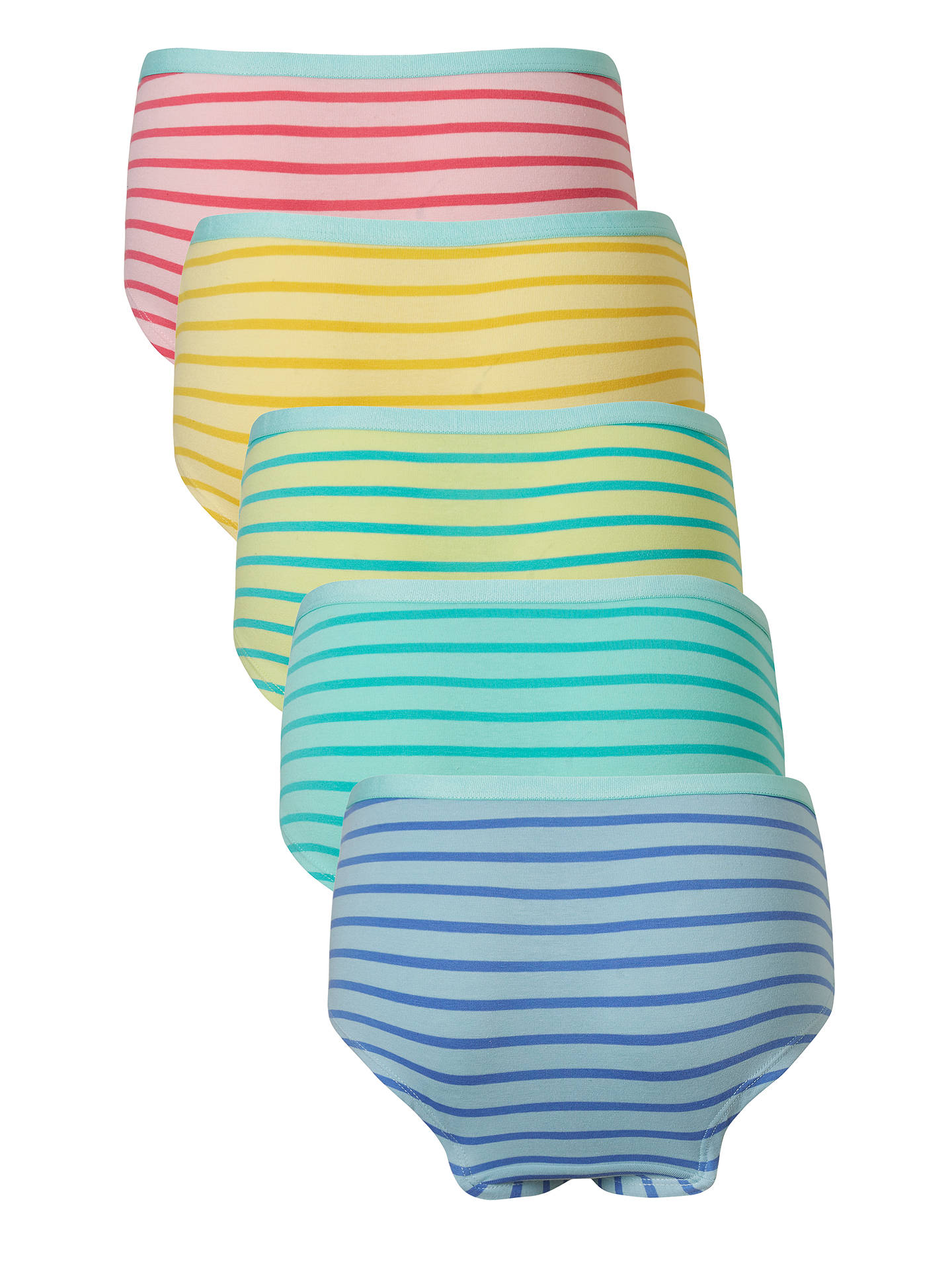 Buy John Lewis & Partners Girls' Tonal Stripe Print Shorties, Pack of 5, Multi, 5 years Online at johnlewis.com