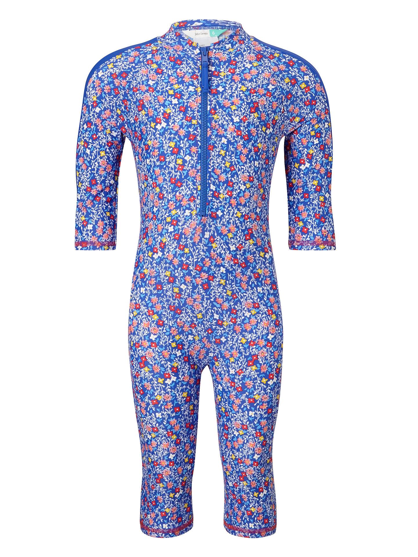 8c058273a8002 Buy John Lewis Girls' Flower UV SunPro All-in-One Swimsuit, Multi ...
