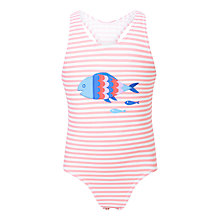 Buy John Lewis Girls' Simone Fish Print Swimsuit, Pink Online at johnlewis.com