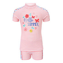 Buy John Lewis Girls' Hello Summer Sunpro Two Piece Set, Pink Online at johnlewis.com