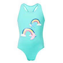 Buy John Lewis Girls' Rainbow Print Swimsuit, Blue Online at johnlewis.com
