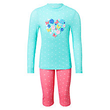 Buy John Lewis Girls' 3D Heart Sunpro Two Piece Set, Blue Online at johnlewis.com