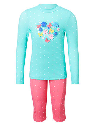 Buy John Lewis & Partners Girls' 3D Heart UV Sunpro Two Piece Set, Blue/Pink, 2 years Online at johnlewis.com