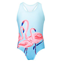 Buy John Lewis Girls' Flamingo Print Swimsuit, Blue Online at johnlewis.com
