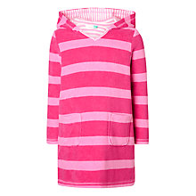Buy John Lewis Girls' Long Sleeve Wide Stripe Towel Dress, Pink Online at johnlewis.com