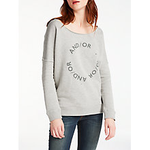Buy AND/OR Slouchy Sweat Top, Pale Grey Online at johnlewis.com