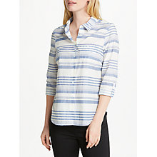 Buy John Lewis Martha Stripe Shirt, White/Allure Blue Online at johnlewis.com