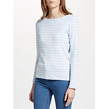 Buy John Lewis Boat Neck Stripe Long Sleeve T-Shirt, Blue/White Online at johnlewis.com