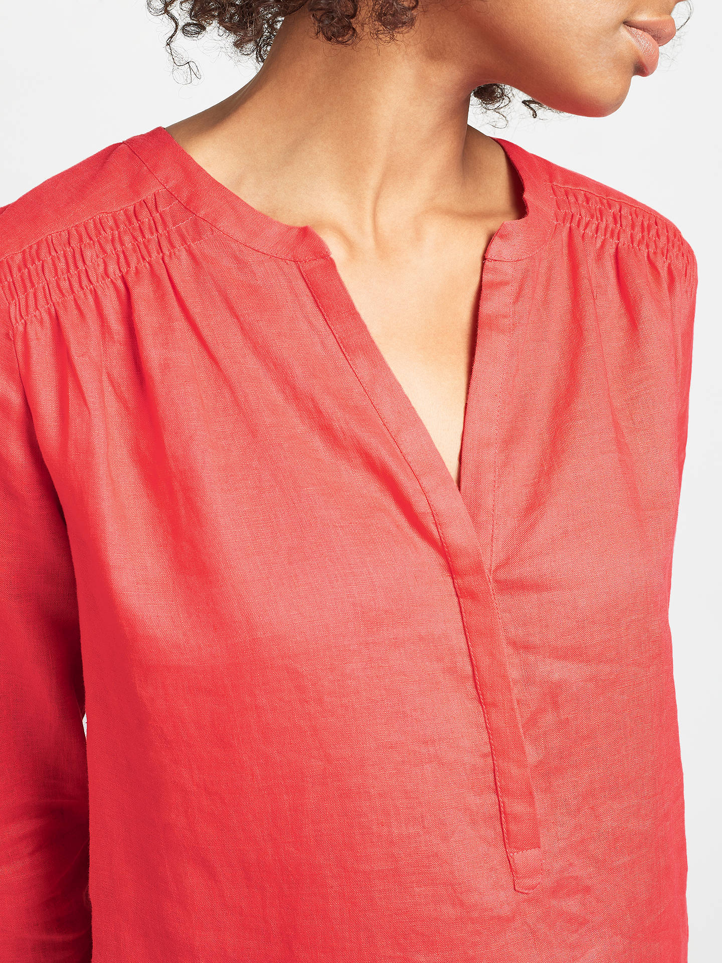 BuyJohn Lewis Shearing Detail Linen Top, Coral, 8 Online at johnlewis.com