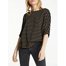 Buy AND/OR Metallic Stripe Seam T-Shirt, Black/Gold Online at johnlewis.com