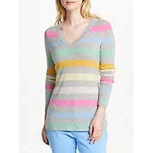 Buy Collection WEEKEND by John Lewis Lofty Stripe V-Neck Jumper, Multi Online at johnlewis.com