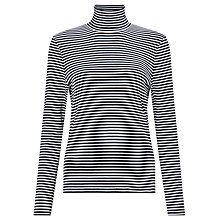 Buy John Lewis Stripe Jersey Roll Neck Top, Navy/White Online at johnlewis.com