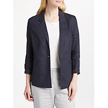 Buy John Lewis One Button Linen Jacket, Navy Online at johnlewis.com