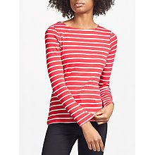 Buy John Lewis Boat Neck Stripe T-Shirt, Raspberry/White Online at johnlewis.com