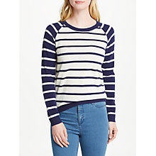 Buy Collection WEEKEND by John Lewis Cashmere Raglan Sleeve Jumper, Navy/Ivory Online at johnlewis.com