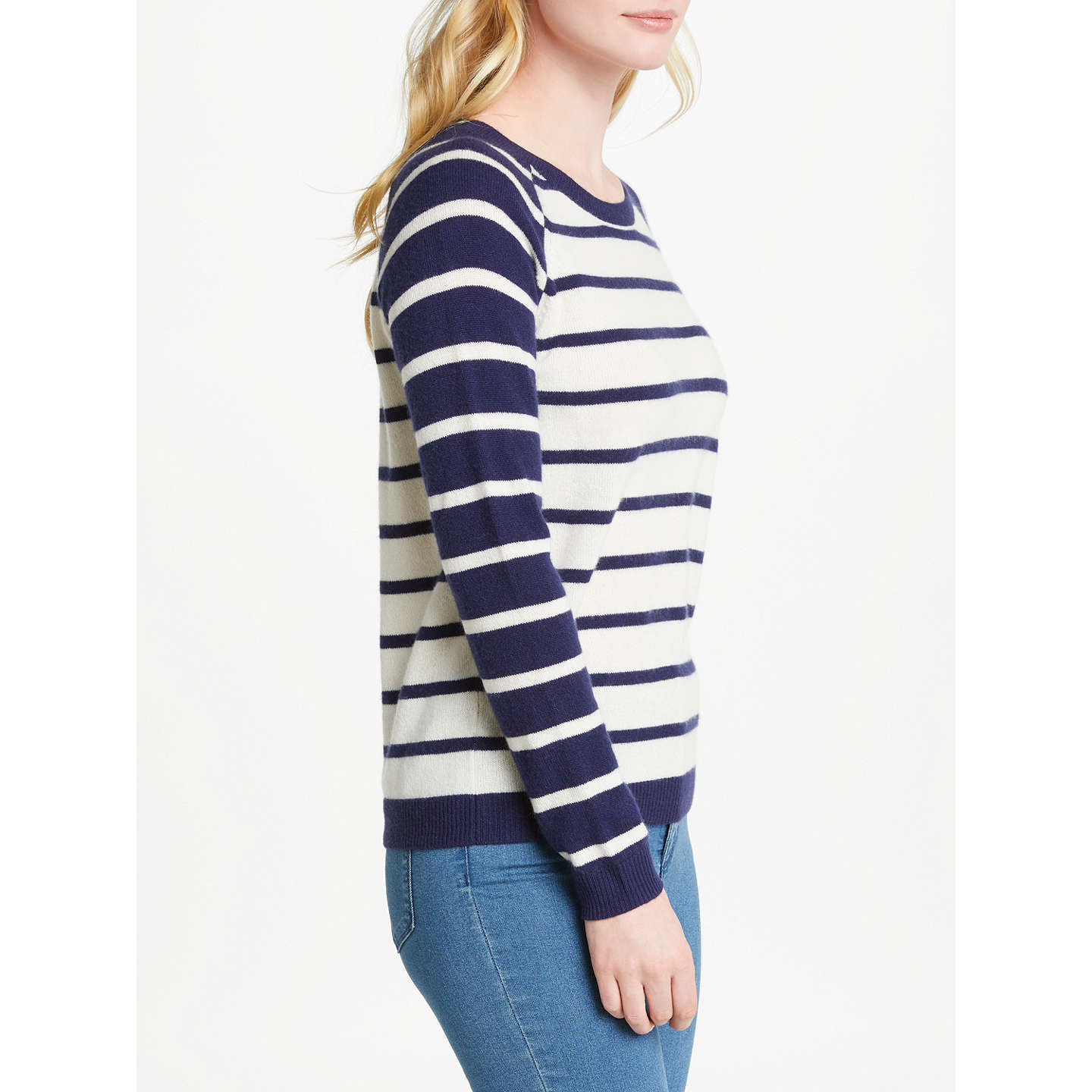 BuyCollection WEEKEND by John Lewis Cashmere Raglan Sleeve Jumper, Navy/Ivory, 8 Online at johnlewis.com