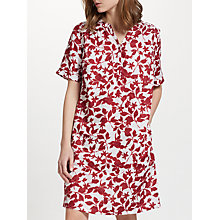 Buy John Lewis Smudge Floral Print Linen V-Neck Dress, White/Red Online at johnlewis.com