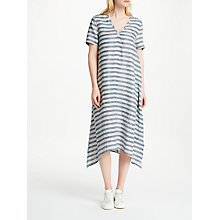 Buy John Lewis Stripe Handkerchief Hem Dress, White/Navy Online at johnlewis.com