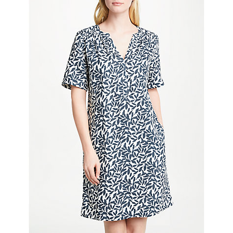 Buy John Lewis Leaf Print Gathered Dress, White/Navy Online at johnlewis.com