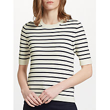 Buy John Lewis Half Sleeve Crew Neck Jumper, Ivory/Navy Online at johnlewis.com