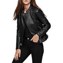 Buy Reiss Taylor Collarless Leather Jacket, Black Online at johnlewis.com