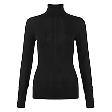Buy Hobbs Lara Ribbed Roll Neck Jumper, Black Online at johnlewis.com